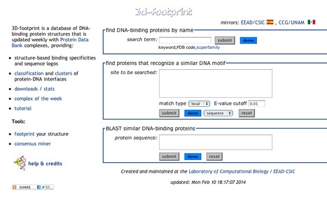 3D-footprint: a database for the analysis of sequence recognition in protein-DNA complexes of known structure | bioinformatics-databases | Scoop.it