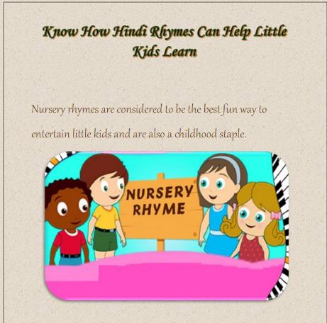 Know How Hindi Rhymes Good For Kids | Motherhood | Scoop.it