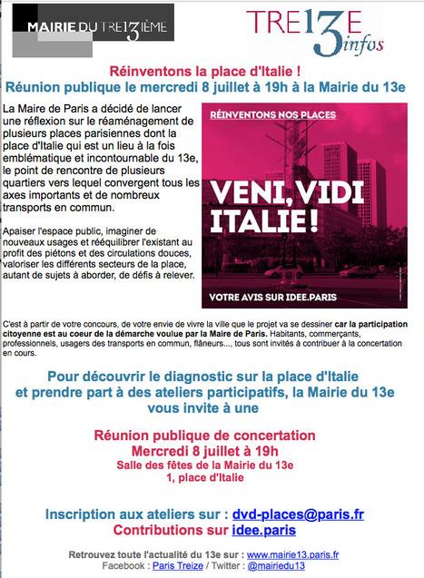 Paris Mairie du 13e: RÉINVENTONS la place d'Italie  Réunion publique le mercredi 8 juillet à 19h | actions de concertation citoyenne | Scoop.it