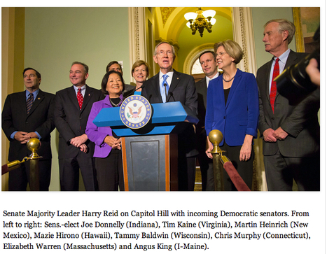 photo: Sen Harry Reid and Democratic Senators-elect from Election2012 including Elizabeth Warren | Massachusetts Senate Race 2012 | Scoop.it