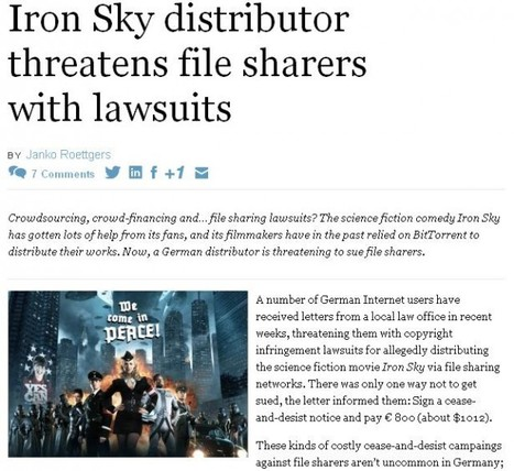 Iron Sky distributor threatens file sharers with lawsuits - Successful Entrepreneur News | Australian Society of Entrepreneurs | Crowdfunding World | Scoop.it