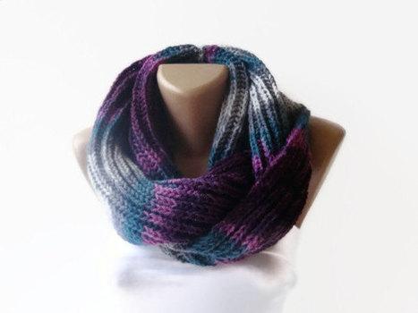 purple gray eternity scarf , infinity loop scarf , women scarves , neckwarmer , stripe winter scarves | Winter Fashions | Scoop.it