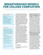 Breakthrough Models for College Completion: The Next Generation of Models for Higher Education | EDUCAUSE.edu | College Access and Success | Scoop.it