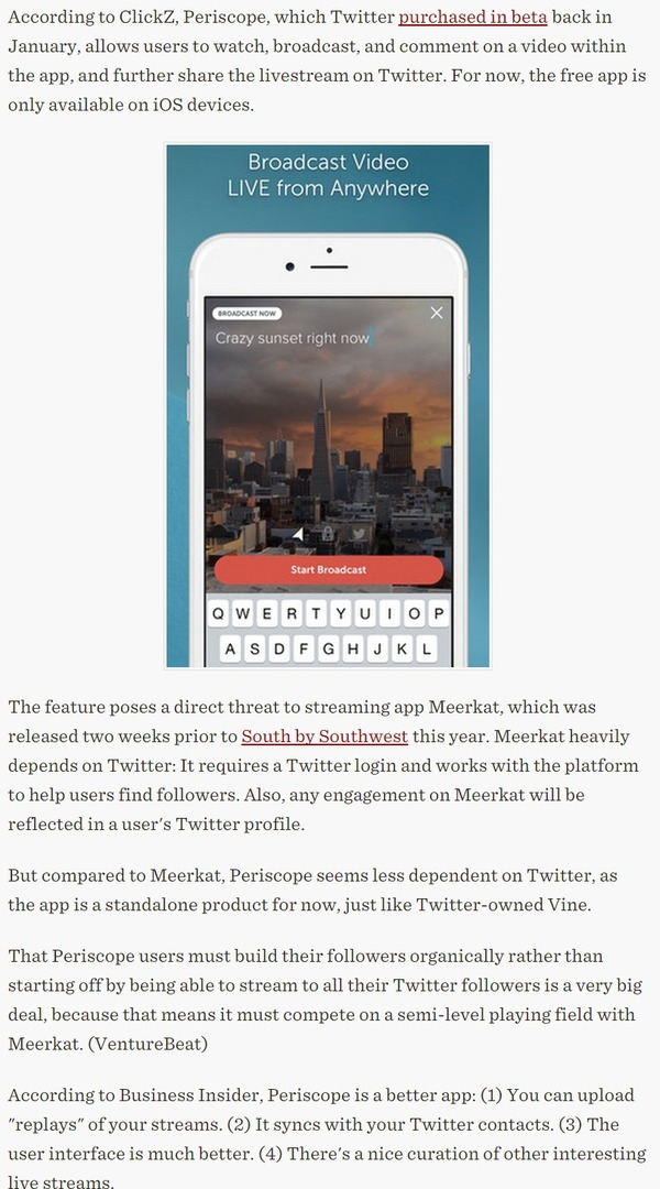 Twitter Debuts Periscope - Various Sources | The Marketing Technology Alert | Scoop.it
