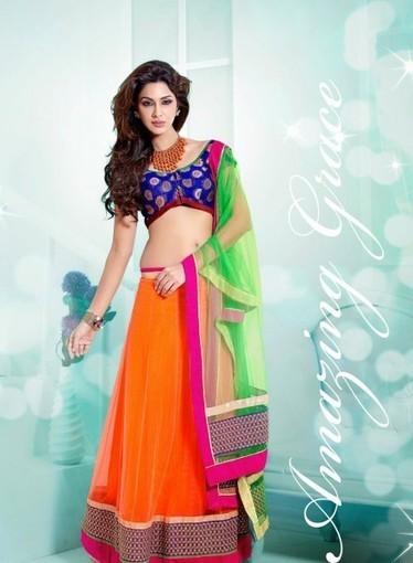 Lehnga Choli In Deep Orange with Lace, Resham. Shop online with confidence   Bridal Lehengas   Scoop.it