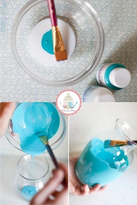 . Véu de Noiva .: DIY | Como Pintar Garrafas e Potes de Vidro | Artesanato_Lia | Scoop.it
