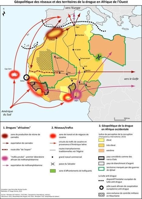 Carte : Géopolitique des réseaux et des territoires de la drogue en Afrique de l'Ouest (Libération) | Enlaces - clases europeas | Scoop.it
