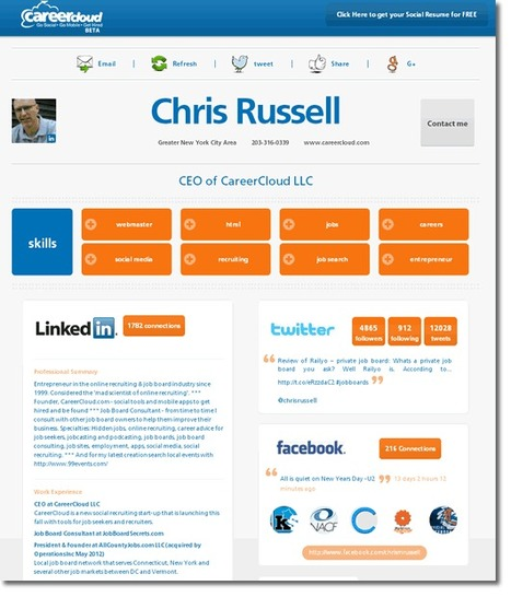 Career Cloud. Faire un Cv à partir de son profil social | Personal Branding and Professional networks - @TOOLS_BOX_INC @TOOLS_BOX_EUR @TOOLS_BOX_DEV @TOOLS_BOX_FR @TOOLS_BOX_FR @P_TREBAUL @Best_OfTweets | Scoop.it