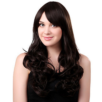 Capless Long Synthetic Black Curly Hair Wig Side Bang – WigSuperDeal.com | African American Wigs | Scoop.it