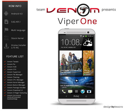 Il Team Venom rilascia la ViperOne 4 RC1 con Android 4.4: HTC One | Laptop Batteries Tech Tips | Scoop.it