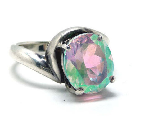 Davinci Sterling Silver Ring with MERCURY MYSTIC TOPAZ  Pink & Green Rhinetone - Vintage   Vintage Jewelry   Scoop.it