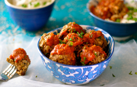 Vegan Meatballs With Rice and Peas Smothered in Tomato Sauce | Vegan Food | Scoop.it