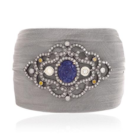 Steel Cuff 18k Gold Blue Sapphire Bracelet | Wholesale Jewelry | GemcoDesigns | Pave Diamond Bracelets | Diamond Jewelry | GemcoDesigns | Scoop.it