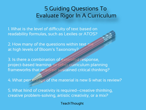 5 Questions To Evaluate Curriculum For Rigor | Numeracy4All | Scoop.it