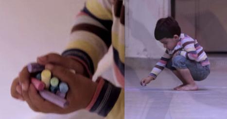這個小男孩偷偷拿了一些彩色粉筆,一開始我以為他只是隨便塗鴉,但是最後他的畫卻讓我流淚! | 激勵感人 | Scoop.it