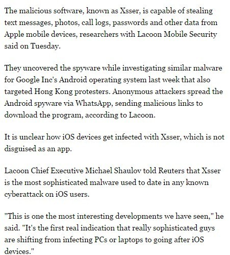 Advanced iOS virus targeting Hong Kong protestors -security firm | Apple, Mac, MacOS, iOS4, iPad, iPhone and (in)security... | Scoop.it