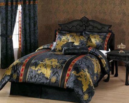 Comforter Set Queen 7 Piece Palace Dragon Jacquard Black Gold Red Asian Design | Blue Jean Writer - Monna Ellithorpe | Scoop.it