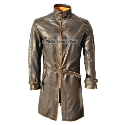 Watch Dogs Trench Coat Genuine Leather Jacket - Distressed Real Leather Coat | movie leather jackets | Scoop.it