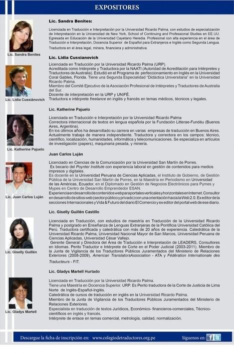 20-09-2014 Colegio de traductores | Jornada de actualización para traductores | Traducción en Perú: eventos, noticias, talleres | Scoop.it