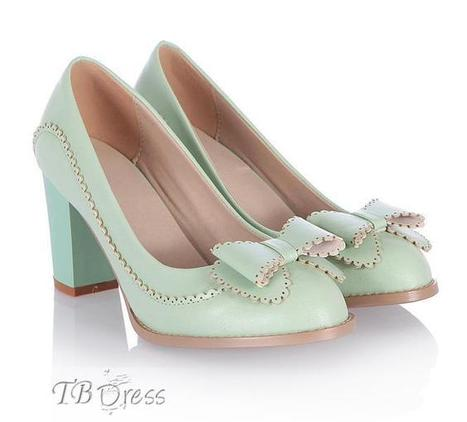 All-Matched Mint PU Pointed-Toe Bow Knot Chunky Heel Pumps | beauty&fashion clothing | Scoop.it