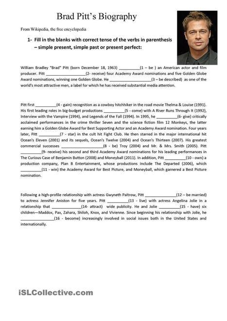 Brad Pitt mini bio | ESL EFL teaching resources | Scoop.it