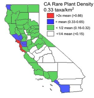 California Botany Blog: Rare Plant Density by County in California | Herbaria | Scoop.it