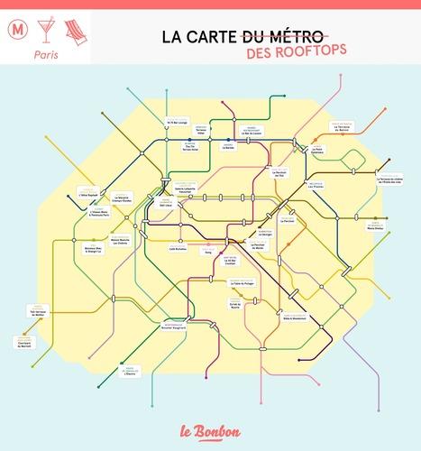"""La carte du métro des meilleurs rooftops de Paris   Office de Tourisme """"Roissy, Clé de France""""   Scoop.it"""