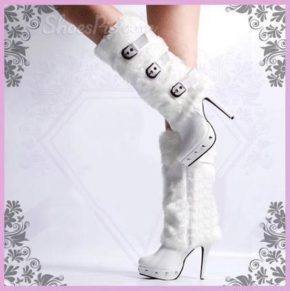 Gorgeous White Fur High Heels Boots | shoespie | Scoop.it