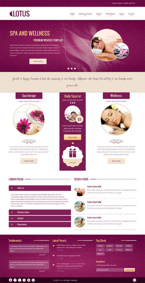 Lotus, Joomla Responsive Purple SPA Salon Template | Premium Download | Premium Joomla Templates Download | Scoop.it