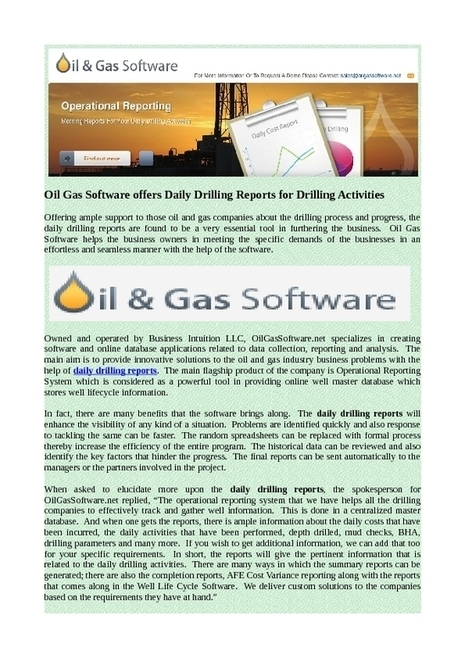 Daily drilling reports - A powerful combination | Business | Scoop.it