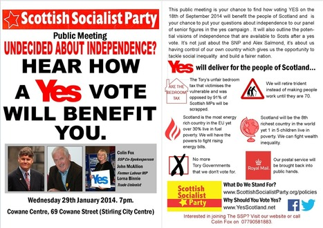 """WeegieNat: SSP Stirling Public Meeting 29th January - """"Hear How a Yes Vote Will Benefit You"""" 