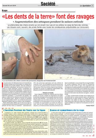 Rage : L'Institut Pasteur de Tunis sur la ligne! | Institut Pasteur de Tunis-معهد باستور تونس | Scoop.it
