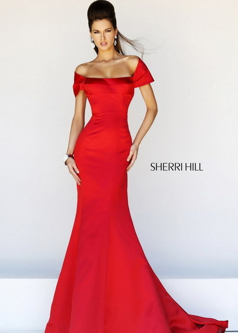 Red Off Shoulder Open Back Satin Mermaid Gown with Train [Sherri Hill 21221] - $239.98 : Cheap Prom Dresses & Homecoming Dresses For Sale Online | long prom dresses | Scoop.it