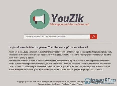 Youzik : un service en ligne simple d'emploi pour convertir les vidéos de Youtube en MP3 | INFORMATIQUE 2015 | Scoop.it
