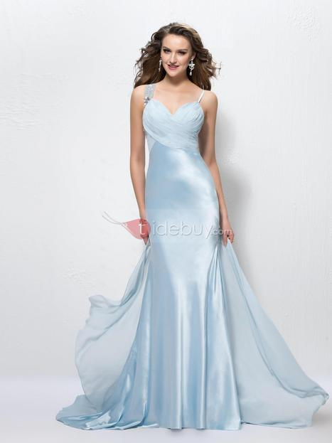 Elegant Straps Trumpet/Mermaid Beading Watteau Train Floor Length Evening Dress   beauty-lover   Scoop.it