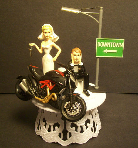 Ducati Diavel Carbon Bride and Groom Wedding Cake Topper. Really. | Ductalk | Scoop.it