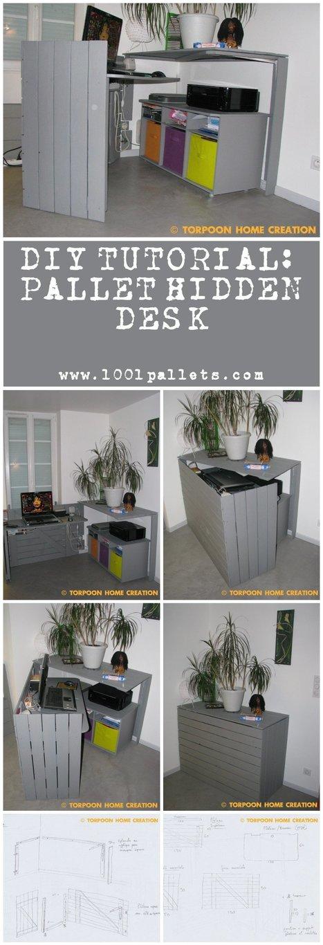 Diy Tutorial: Pallet Hidden Desk   1001 Pallets ideas !   Scoop.it