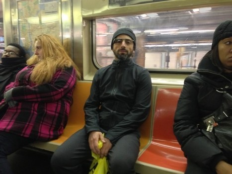 Spotted: Sergey Brin wearing Google Glass specs as he blends in on NYC subway   Technology Advance   Scoop.it