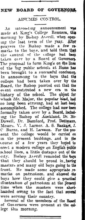 Papers Past — Auckland Star — 8 September 1914 — KING'S COLLEGE. | King's College, Auckland, New Zealand | Scoop.it