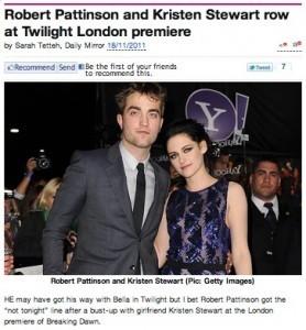 Robert Pattinson Kristen Stewart Fight Breaking Dawn | London ... | The Twilight Saga | Scoop.it