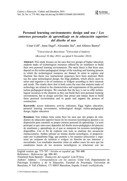Personal learning environments: design and use | Redes virtuales para la formación profesional docente | Scoop.it