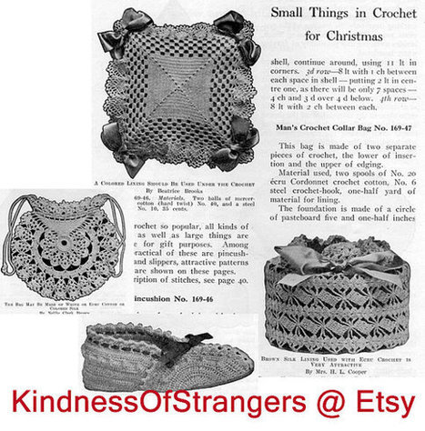 Digital PDF File Download of 4 Antique Small Gifts Crochet Patterns Pincusion Bag Slippers Box | Vintage Living Today For A Future Tormorrow | Scoop.it