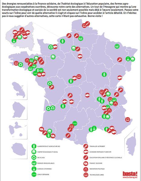 Voici la carte de France des ALTERNATIVES LOCALES pour un changement global | Le BONHEUR comme indice d'épanouissement social et économique. | Scoop.it