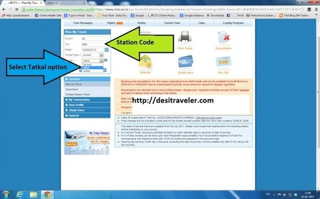 7 Steps to Book Tatkal Railway Ticket Online on IRCTC website - Desi Traveler | IRCTC Info | Scoop.it