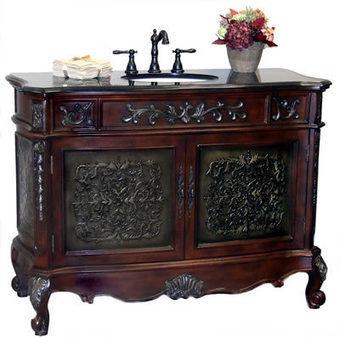 Bathroom Vanity Cabinet Set with Black Granite Top, Sink, Walnut Finish, Large 48 inch width (Halee), #BRVA_S_HALEE   Kitchen Online: Double Bowl Copper Kitchen Sinks  Copper Kitchen Sinks  Copper Kitchen Sink Texas   Scoop.it