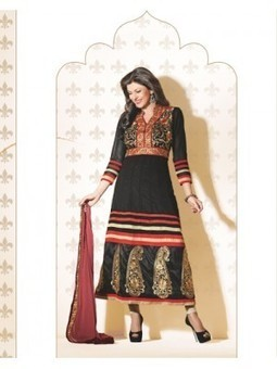 Buy Online Latest Sushmita Sen Black Georgette Anarkali Suit 9647 - Sushmita Sen Collection Sushmita Sen Dress | Online Suit Salwar Kameez |  Suit Price| Suit Sale | Apparel | Women Suit | Scoop.it