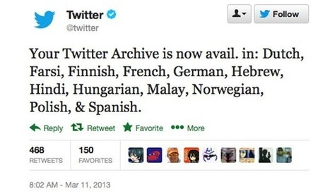 Twitter adds 12 more languages to its archive downloading program | Personal Branding and Professional networks - @TOOLS_BOX_INC @TOOLS_BOX_EUR @TOOLS_BOX_DEV @TOOLS_BOX_FR @TOOLS_BOX_FR @P_TREBAUL @Best_OfTweets | Scoop.it