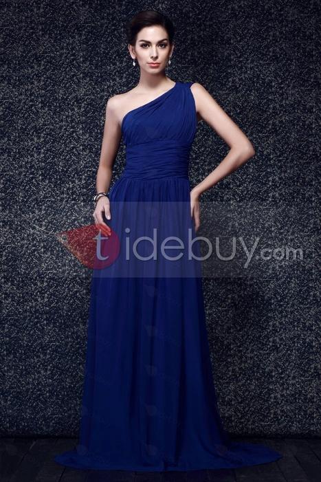 Elegant One-Shoulder Ruched Bodice A-line Court Train Taline's Evening Dress | wedding | Scoop.it