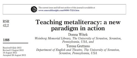 "Information Constellation: Recognition for ""Teaching metaliteracy"" and SoTL 
