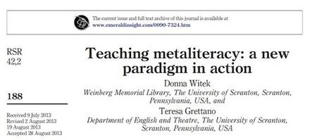 "Information Constellation: Recognition for ""Teaching metaliteracy"" and SoTL | Uppdrag : Skolbibliotek | Scoop.it"